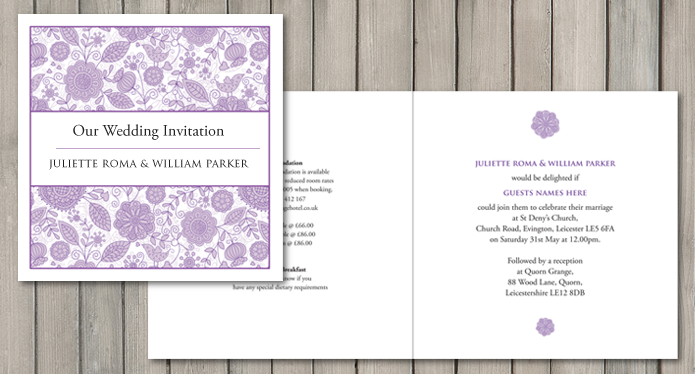 Lovebirds wedding stationery