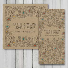 Natural Wedding Invite - DL and Square format