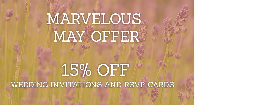 15% discount on all wedding invitations and RSVP cards