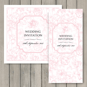 English Rose Wedding Invite - DL and Square format