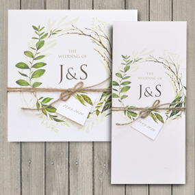 Greenery Wedding Invite - DL and Square format